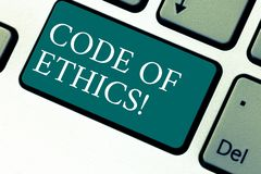Handwriting text Code Of Ethics. Concept meaning Moral Rules Ethical Integrity Honesty Good procedure Keyboard key royalty free stock photo