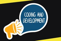 Handwriting text Coding And Development. Concept meaning Programming Building simple assembly Programs