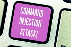 Handwriting text Comanalysisd Injection Attack. Concept meaning execution of arbitrary comanalysisds on the host OS Keyboard key. Intention to create computer stock photo