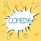 Handwriting text Comedy. Concept meaning Professional entertainment Jokes Sketches Make audience laugh Humour.  vector illustration