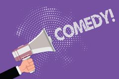 Handwriting text Comedy. Concept meaning Professional entertainment Jokes Sketches Make audience laugh Humour.  stock illustration