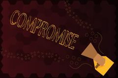 Handwriting text Compromise. Concept meaning Come to agreement by mutual concession Give Reveal Expose.  stock illustration