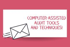 Handwriting text Computer Assisted Audit Tools And Techniques. Concept meaning Modern auditing applications Fast. Delivery icon on Sealed Envelope Express vector illustration