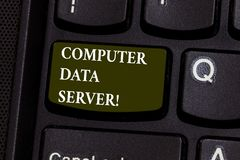 Handwriting text Computer Data Server. Concept meaning Computer platform that delivers database services Keyboard key stock photo
