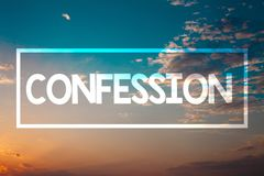 Handwriting text Confession. Concept meaning Admission Revelation Disclosure Divulgence Utterance Assertion Sunset blue beach oran royalty free stock photos