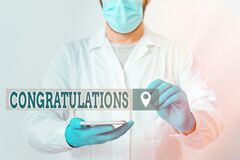 Handwriting text Congratulations. Concept meaning a congratulatory expression usually used in plural form Laboratory