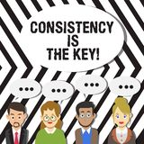 Handwriting text Consistency Is The Key. Concept meaning by Breaking Bad Habits and Forming Good Ones Group of Business. Handwriting text Consistency Is The Key stock illustration