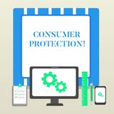 Handwriting text Consumer Protection. Concept meaning Fair Trade Laws to ensure Consumers Rights Protection Business. Handwriting text Consumer Protection vector illustration