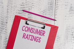 Handwriting text Consumer Ratings. Concept meaning feedback given by clients after buying product or service Colored. Handwriting text Consumer Ratings royalty free stock photo