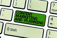 Handwriting text Content Marketing And Planning. Concept meaning Advertising Promotion optimization strategies Keyboard. Key Intention to create computer royalty free stock image