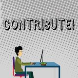 Handwriting text Contribute. Concept meaning Strategy Decision Teamworking For Achiving Common Successful Goal. Handwriting text Contribute. Conceptual photo royalty free illustration