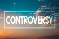 Handwriting text Controversy. Concept meaning Disagreement or Argument about something important to people Sunset blue beach orang. E cloudy clouds sky ideas royalty free stock photography