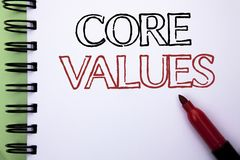 Handwriting text Core Values. Concept meaning Principles Ethics Conceptual Accountability Code Components written on Notebook Book royalty free stock photo