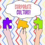 Handwriting text Corporate Culture. Concept meaning Beliefs and ideas that a company has Shared values Three Colored. Handwriting text Corporate Culture stock illustration