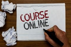 Handwriting text Course Online. Concept meaning eLearning Electronic Education Distant Study Digital Class Man holding marker note. Book crumpled papers ripped stock photos