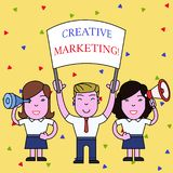 Handwriting text Creative Marketing. Concept meaning Campaigning to meet the advertising requirements People with Blank. Handwriting text Creative Marketing stock illustration