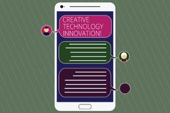 Handwriting text Creative Technology Innovation. Concept meaning unleashing the mind to conceive new ideas Mobile. Messenger Screen with Chat Heads and Blank stock illustration