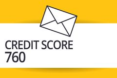 Handwriting text Credit Score 760. Concept meaning numerical expression based on level analysis of person.  stock photo