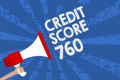 Handwriting text Credit Score 760. Concept meaning numerical expression based on level analysis of person Man holding megaphone lo royalty free illustration