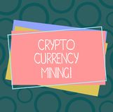 Handwriting text Crypto Currency Mining. Concept meaning recording transaction record in the blockchain system Pile of. Blank Rectangular Outlined Different stock illustration
