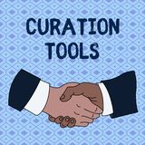 Handwriting text Curation Tools. Concept meaning Software used in gathering information relevant to a topic Hand Shake. Handwriting text Curation Tools stock illustration