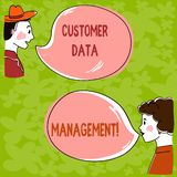 Handwriting text Customer Data Management. Concept meaning Keep track and analysisage customers information Hand Drawn Man and Wo. Analysis Talking photo with stock photography