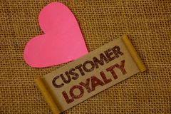 Handwriting text Customer Loyalty. Concept meaning Client Satisfaction Long-Term relation Confidence Ideas on old vintage paper bl. Ack red letters wicker stock image