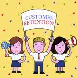 Handwriting text Customer Retention. Concept meaning Keeping loyal customers Retain analysisy as possible People with. Handwriting text Customer Retention vector illustration