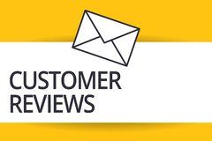 Handwriting text Customer Reviews. Concept meaning review of product or service made by client who has used