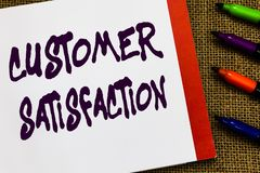 Handwriting text Customer Satisfaction. Concept meaning Exceed Consumer Expectation Satisfied over services Open royalty free stock photos