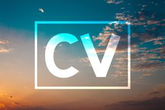 Handwriting text Cv. Concept meaning Curriculum Vitae Resume Infographics Job Searching Employee Recruitment Sunset blue beach ora. Nge cloudy clouds sky ideas stock images