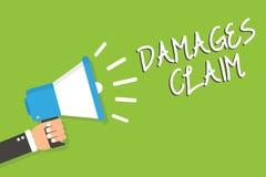 Handwriting text Damages Claim. Concept meaning Demand Compensation Litigate Insurance File Suit Man holding megaphone loudspeaker