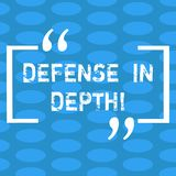 Handwriting text Defense In Depth. Concept meaning arrangement defensive lines or fortifications defend others Columns. Of Small Color Oval Shape Geometric royalty free illustration