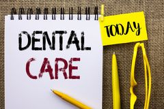 Handwriting text Dental Care. Concept meaning Oral Tooth Mouth Caring Safety Hygiene Protection Regulations written on Notebook Bo. Handwriting text Dental Care royalty free stock images