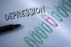 Handwriting text Depression. Concept meaning Work stress with sleepless nights having anxiety disorder written on Plain Blue backg. Handwriting text Depression royalty free stock image