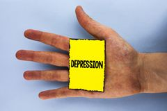 Handwriting text Depression. Concept meaning Work stress with sleepless nights having anxiety disorder written on Yellow Sticky No. Handwriting text Depression stock photography