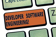 Handwriting text Developer Software Engineering. Concept meaning Forming software base on engineering standard Keyboard. Key Intention to create computer royalty free stock photo