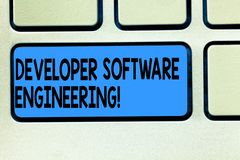 Handwriting text Developer Software Engineering. Concept meaning Forming software base on engineering standard Keyboard key. Intention to create computer royalty free stock images