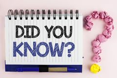 Handwriting text Did You Know Question. Concept meaning asking about facts of informations Trivia Competition written on Notebook. Handwriting text Did You Know Royalty Free Stock Images