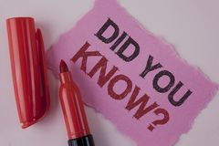Handwriting text Did You Know Question. Concept meaning asking about facts of informations Trivia Competition written on Tear Pink. Handwriting text Did You Know Stock Photo