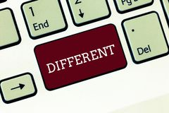 Handwriting text Different. Concept meaning not the same as another or each other unlike in nature form Keyboard key. Intention to create computer message stock image