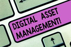 Handwriting text Digital Asset Management. Concept meaning Business processes for analysisaging digital accounts Keyboard key. Intention to create computer royalty free stock photos