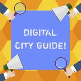 Handwriting text Digital City Guide. Concept meaning app which provides assistance information on cultural Hu analysis. Hands Each Holding Magnifying Glass and royalty free illustration
