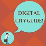 Handwriting text Digital City Guide. Concept meaning app which provides assistance information on cultural Man in. Necktie Carrying Briefcase Holding Megaphone vector illustration