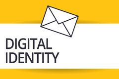 Handwriting text Digital Identity. Concept meaning information on entity used by computer to represent agent.  stock illustration