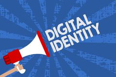 Handwriting text Digital Identity. Concept meaning information on entity used by computer to represent agent Man holding megaphone. Loudspeaker grunge blue rays stock illustration
