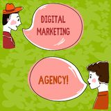 Handwriting text Digital Marketing Agency. Concept meaning Helps business engage with exact target audiences Hand Drawn Man and Wo. Analysis Talking photo with royalty free illustration