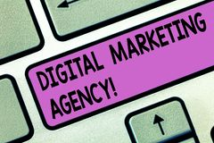 Handwriting text Digital Marketing Agency. Concept meaning Helps business engage with exact target audiences Keyboard key. Intention to create computer message stock illustration