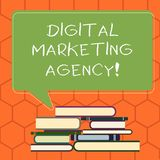 Handwriting text Digital Marketing Agency. Concept meaning Helps business engage with exact target audiences Uneven Pile of. Hardbound Books and Blank vector illustration