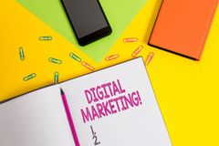 Handwriting text Digital Marketing. Concept meaning Search Engine Optimazation Pay Per Click Ad Internet Blank paper. Handwriting text Digital Marketing royalty free stock images